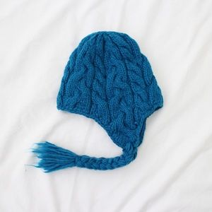Blue Cable Knit Beanie